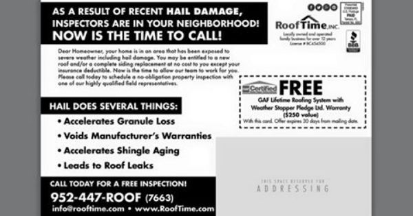 July 2015 Flyer Back Hail Damage Alert From Roof Time Inc Call Us Today If You Believe You Have Damage To Your Property W Roofing Finishing Basement Roof