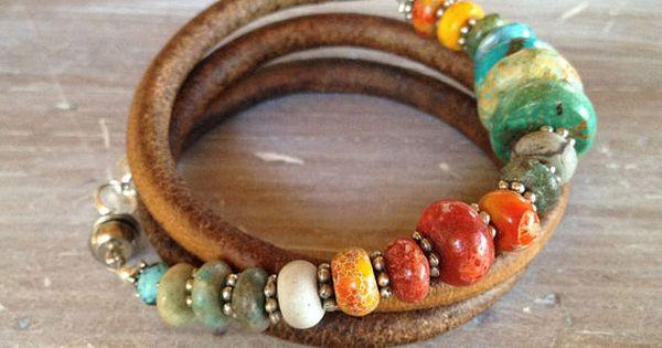 ❥ Triple Leather Bracelet - Sundance style turquoise, sponge coral, silver -
