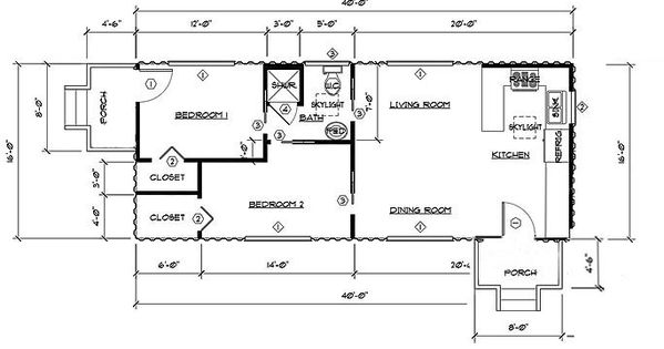 Two Bedroom One Bath Shipping Container Home Floor Plan using 2