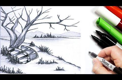 رسم منظر طبيعي سهل بالرصاص للمبتدئين رسم سهل تعليم رسم مناظر طبيعية سهله رسومات بالرصاص Youtube Pen Books