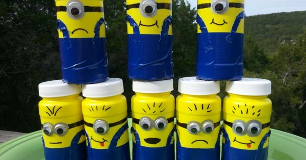 minion bubble party favors - or decorate toilet paper tubes like this!