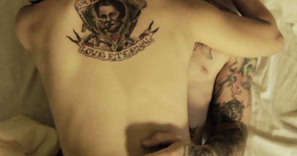 Tattoo couple in the bed. tattoo tattoos ink