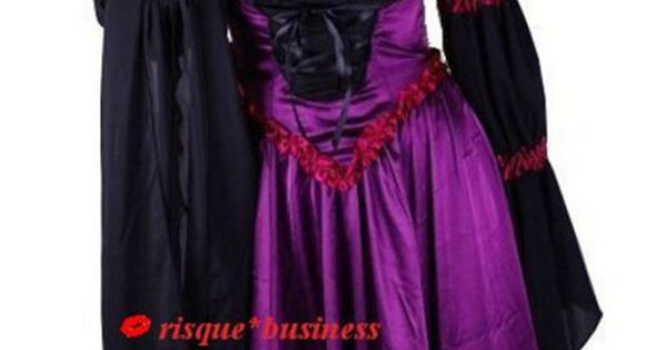 Medieval Vampire Witch Purple Black Fancy Corset Dress Gown Costume 10 ...