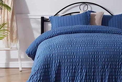 Nexhome Duvet Cover Set King Size Blue Seersucker 100 Washed Microfiber Zipper Closure Amp Corner Ties In 2021 Duvet Cover Sets Blue Duvet Cover Duvet Covers