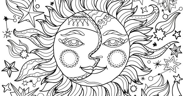 Free Printable Sun And Moon Adult Coloring Page. Download