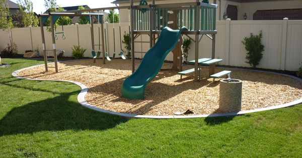 Backyard playground in the landscaping in South Jordan, Utah in South