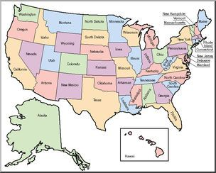Clip Art: United States Map Color Labeled | abcteach | Maps ...