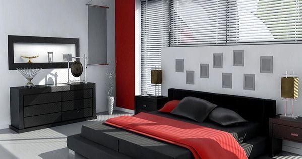 Camera da letto nelle tonalità rosso e grigio n.01 ...