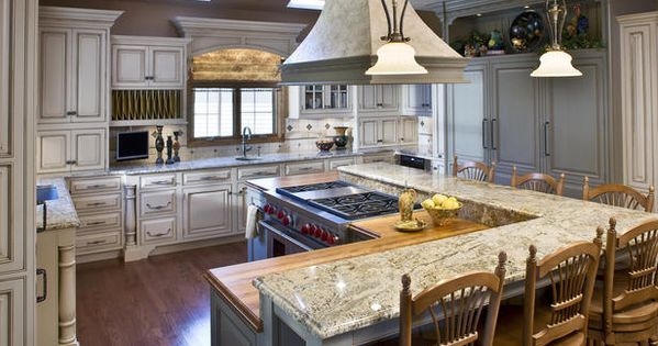 two levels bar with butcher block and granite TRADITIONAL KITCHEN FEATURES MODERN