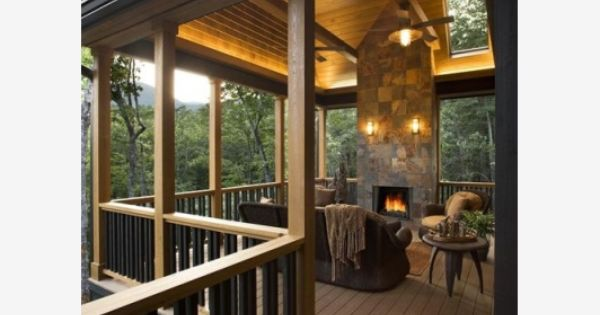 Covered Deck With Fireplace Home And Garden Design Idea
