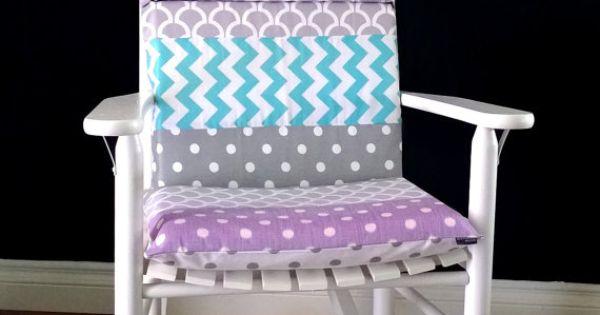 Rocking Chair Cushion Cover Grey Purple Blue White