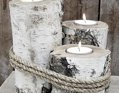 Berkenhout gat frezen en waxinelichtjes erin home for Vensterbank decoratie hout