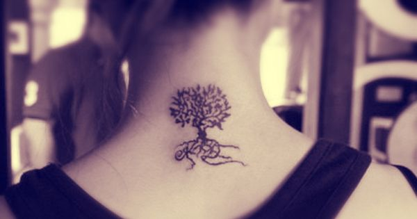 a tree tattoo behind the neck with roots tree tattoo girl tattoo feminine tattoo female. Black Bedroom Furniture Sets. Home Design Ideas