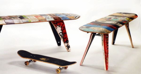 Recycled Skateboard Bench--def would have this in my Dream Home