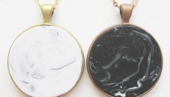 Make these faux marble or stone necklaces with polymer ...