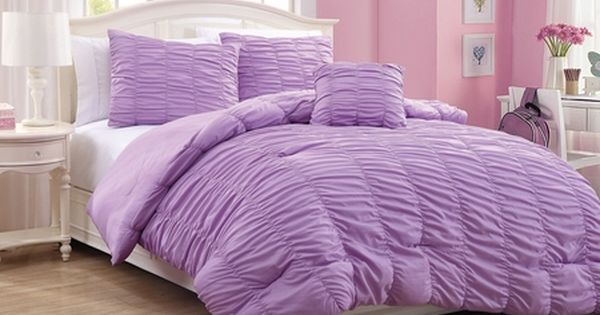 4 Piece Full Mandy Ruffle Comforter Set Purple Comforter Sets
