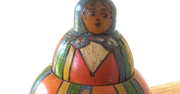 Antique Wooden Polish Folk Art Doll Inkwell Antique Ink