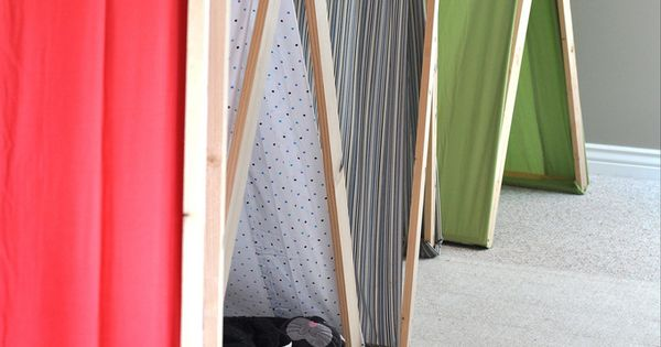 Fun idea for kids. Easy DIY indoor tents and they fold away!