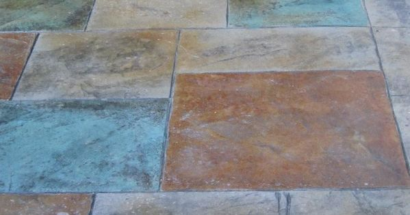 Colored stamped concrete patio with fire pit home design for Fire pit on concrete slab