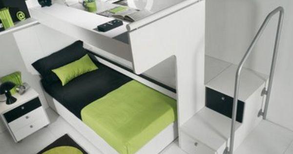 Green Black Decoracion De Recamaras Juveniles Cama Y Escritorio Dormitorios