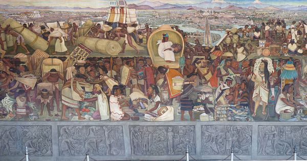 Diego rivera mural of the aztec market of tlatelolco for Diego rivera aztec mural
