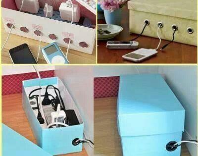 DIY Shoe Box Charging Cord Organizer