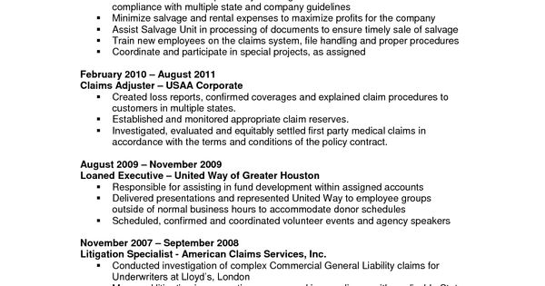 claims adjuster resume sample    resumesdesign com