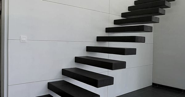 Escalier flottant structure m tallique fix e au mur par ancrages chimiques m - Escalier fixe au mur ...
