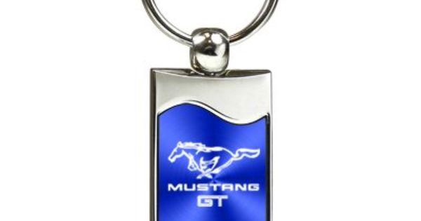 Ford Mustang Shelby Cobra Blue Spun Brushed Metal Key Chain