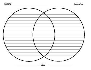 Freebie Venn Diagram W Lines Graphic Organizers Venn Diagram