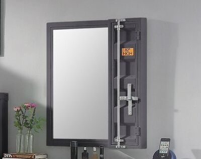 Zoomie Kids Otero Bathroom Vanity Mirror With Shelves Finish Gunmetal In 2020 Mirror With Shelf Storage Mirror Shelves