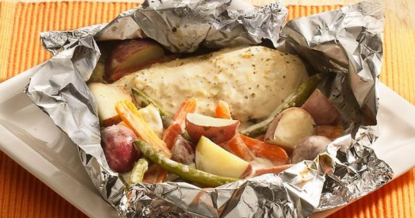 Grilled Parmesan-Ranch-Chicken Packs, aka Foil Dinners. Try any combo of Meat and