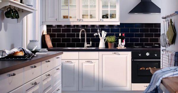 Kitchen: Modern Ikea Kitchen Units Ideas with Black Brick ...