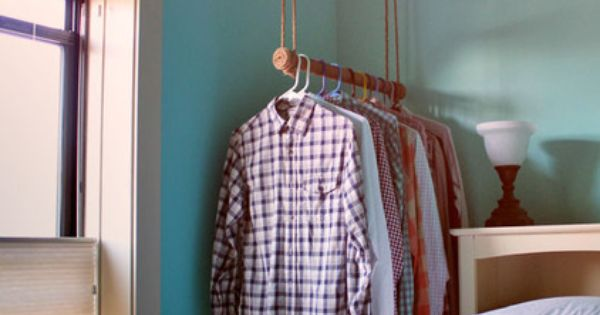 Hanging clothes bar. good for a small space that doesn't have a
