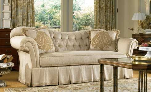 Gorgeous Sofa With A Tufted Back And Pleated Skirt Sofas