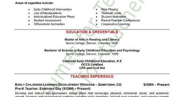 Preschool Teacher Resume Sample - Page 1 Teacher resumes - sample resume for preschool teacher