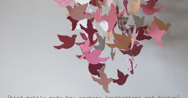 DIY paper bird mobile by Couture Invitations and Design