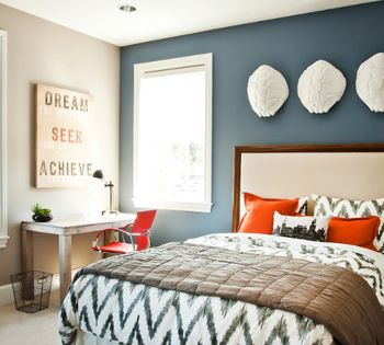 Bedroom With Slate Blue Accent Wall White Trim Orange Accents Benjamin Moore Phillipsburg