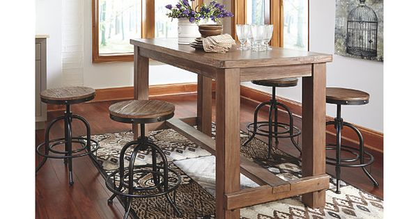 Dining Table Light Height: Light Brown Pinnadel Counter Height Dining Room Table View