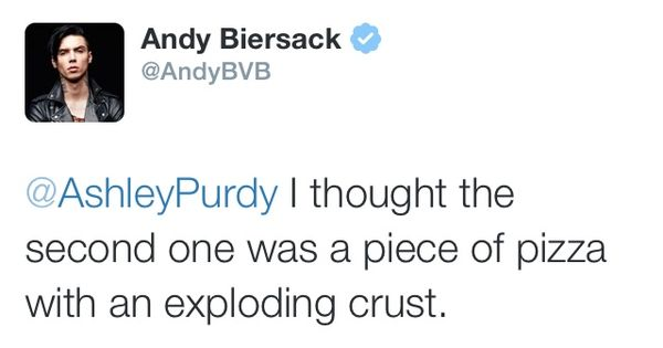 Hahaha oh Andy. A piece of pizza with an exploding crust lol
