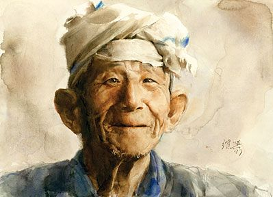 Chinese Watercolor Artist Guan Weixing Watercolor Portraits