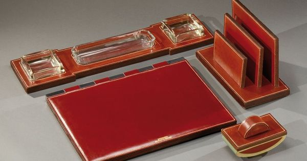 paul dupre lafon 1900 1971 et hermes paris a desk set in saddle stitched strips of red leather. Black Bedroom Furniture Sets. Home Design Ideas
