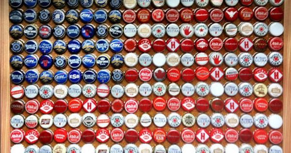 American Flag with beer bottle caps...love this for back porch or man