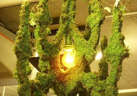 Moss art decorating the ceiling of the Designers and Agents Green Room