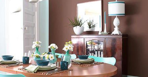 Chocolate Brown And Turquoise Dining For The Home Pinterest Chocolate Brown Room And