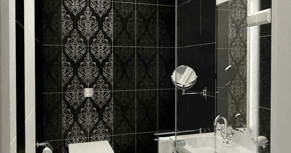 badgestaltung bad ideen badezimmer schwarz weiß grauer tapete ... - Badgestaltung Mit Tapete