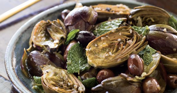 Braised Artichokes with Lemon, Mint, Olives