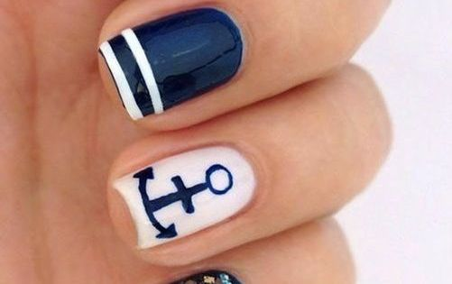 Cute Navy Nail Art Design Ideas