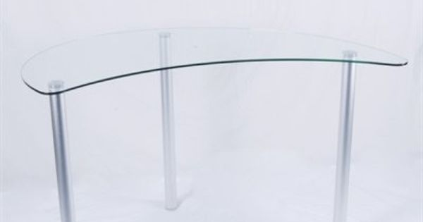 Crescent Shaped 48 Glass Aluminum Workstation In 2020 Desk Dimensions Workstation Glass And Aluminium