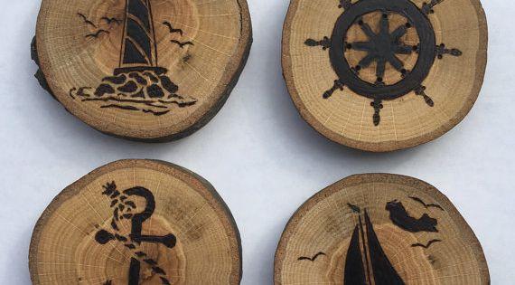 4 Woodburned Coasters by TShop21 on Etsy | TShop21 ...